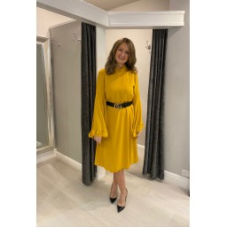 Lucy Cobb Angel Midi Dress in Mustard