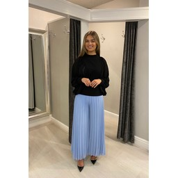 Lucy Cobb Demi Pleated Palazzo Trousers  in Pale Blue (611)