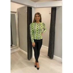 Lucy Cobb Printed Salsa Puff Sleeve Top - Lime Snake