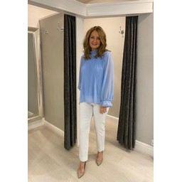 Lucy Cobb Paloma Plain Sleeve Top - Pale Blue