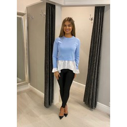 Lucy Cobb Two In One Shirt Jumper  - Baby Blue