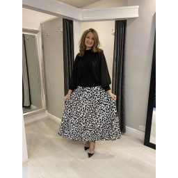 Lucy Cobb Lily Leopard Print Pleated Skirt in White