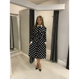 Lucy Cobb Polka Dot Shirt Dress - Black Spot