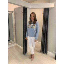 Lucy Cobb Love Leopard Printed Jumper  in Light Denim Blue