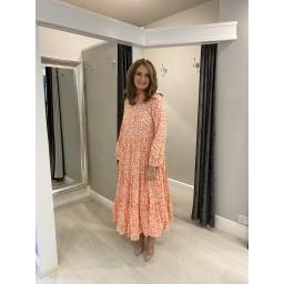 Lucy Cobb Tanya Tiered Midi Dress  in Orange