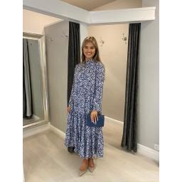 Lucy Cobb Tanya Tiered Midi Dress  - Navy