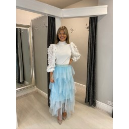 Lucy Cobb Lara Layered Tulle Skirt in Pale Blue (611)