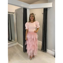 Lucy Cobb Lara Layered Tulle Skirt in Pink