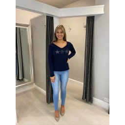 Lucy Cobb Three Animal Print Star Jumper in Navy