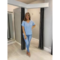 Lucy Cobb Sparkle Front V-Neck Tshirt - Pale Blue