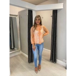 French Connection Cade Crinkle Ruffle Neck Blouse - Orange mix