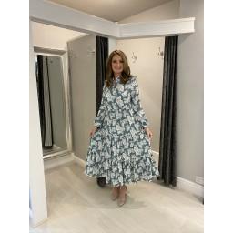 Lucy Cobb Tanya Tiered Midi Dress  in Mint Leaf