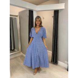 Lucy Cobb Button Front Shirred Back Dress - Cornflower Blue