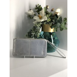 Lucy Cobb Purse With Wrist Strap - Metallic Silver