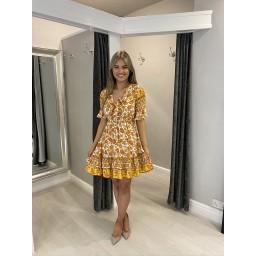Lucy Cobb Aimee Bow Front dress - Orange mix