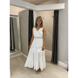 Lucy Cobb Talia Tiered Lace Maxi dress - White