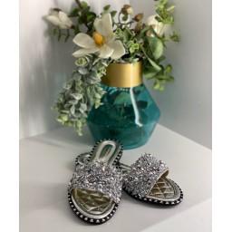Lucy Cobb Diamante Sandals - Silver
