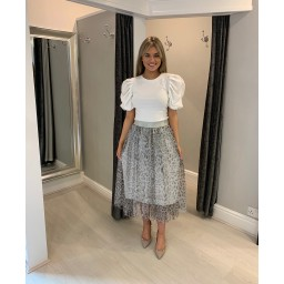 Lucy Cobb Tara Tulle Animal Print Skirt in Silver Grey