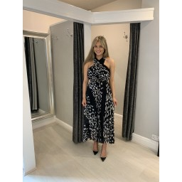Lucy Cobb Crossover Pleated Maxi  - Black Spot