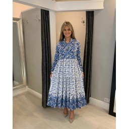 Lucy Cobb Floral Tiered Maxi Dress - Blue