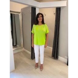 Lucy Cobb Deena Diamante Oversized Top - Lime Green