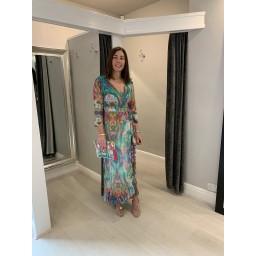 Sophia Alexia Ruffle Wrap Dress Short in Liquid Rainbow