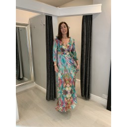 Sophia Alexia Ruffle Wrap Dress Long in Liquid Rainbow