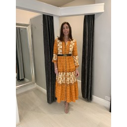 Lucy Cobb Amiee Maxi Shirt Dress - Orange mix