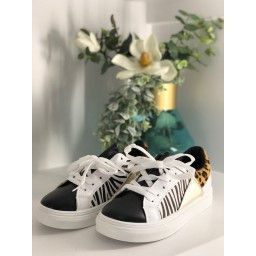 Lucy Cobb Animal Print Trainers  - White