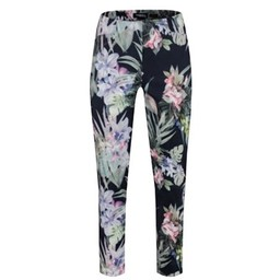 Robell Trousers Rose 09 Lily Floral Print - Navy