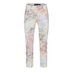 Robell Trousers Rose 09 Colourful Animal Print - White