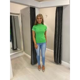 Lucy Cobb Freya Zip Neck Top  - Green