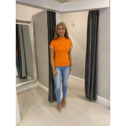 Lucy Cobb Freya Zip Neck Top  - Orange