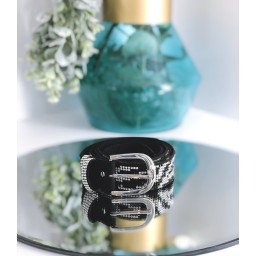 Malissa J Sparkle Bling Belt - Zebra Print