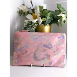 Malissa J Leather Zip Wallet in Baby Pink Mix