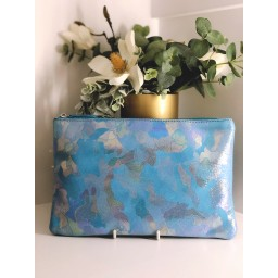 Malissa J Leather Zip Wallet in Aqua Blue