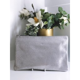 Malissa J Leather Zip Wallet in Silver