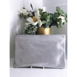 Malissa J Leather Zip Wallet in Silver