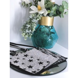 Malissa J Mobile Phone Bling Bag in Silver Star