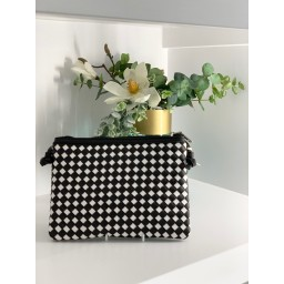 Malissa J Weave Zip Wallet in Black & White