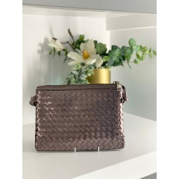 Malissa J Weave Zip Wallet in Pewter