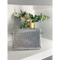 Malissa J Weave Zip Wallet in Silver