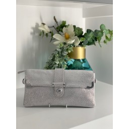 Malissa J Leather Button Clutch in Silver