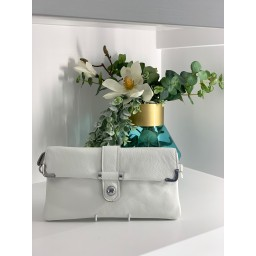 Malissa J Leather Button Clutch in White