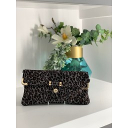 Malissa J Leather Button Clutch in Leopard Print