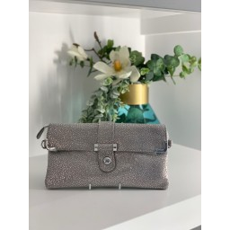 Malissa J Leather Button Clutch in Grey