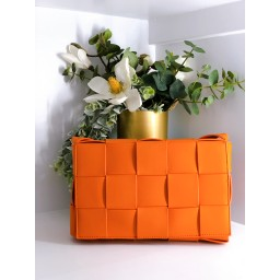 Malissa J Weave Crossbody Bag - Orange