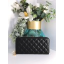 Quilted Zip Purse - Black