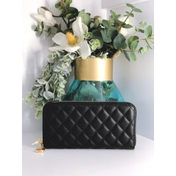 Malissa J Quilted Zip Purse - Black