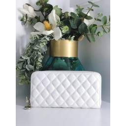 Malissa J Quilted Zip Purse in White